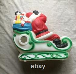Vintage Christmas Santa Sleigh Empire Blowmold Blow Mold And 2 Reindeer