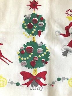 Vintage Christmas Tablecloth Santa Sleigh Reindeer MCM Cute