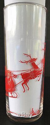 Vintage Christmas Tumblers Red Reindeer Santas Sleigh Mid Century Highball