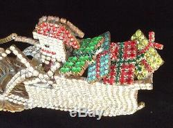 Vintage Czech Rhinestone Santa Sleigh & Reindeer