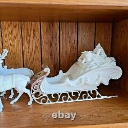 Vintage Dept 56 Winter Silhouette Santa's Sleigh & 4 Reindeer #77950 Retired'98