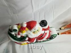 Vintage EMPIRE 1970 Christmas Santa Sleigh & Reindeer Blow Mold Light Decoration