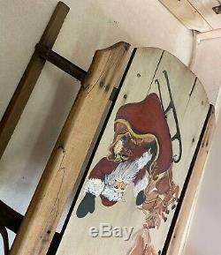 Vintage Early Primitive Kids Wood & Metal Snow Sled Sleigh with Santa & Reindeer