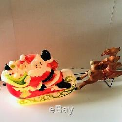 Vintage Empire Blow Mold Santa With Sleigh And Reindeer 1970 USA Lightup Working
