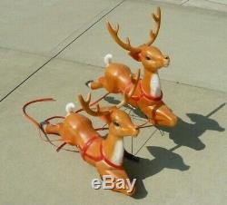 Vintage Empire Christmas Santa Sleigh Two Reindeer Blow Mold Decor Yard Decor