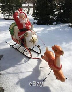Vintage Empire Large Santa Claus in Sleigh Sled & Reindeer Christmas Blow Mold