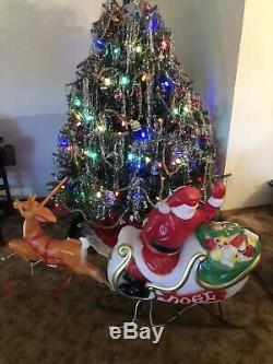 Vintage Empire MECHANICAL Santa, Sleigh and Reindeer Blow Mold