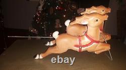 Vintage Empire Plastic Blow Mold Christmas Santa Reindeer 1970 no Santa Sleigh