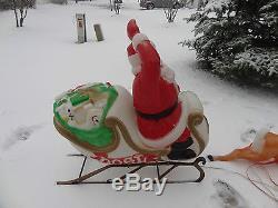 Vintage Empire Santa Claus Sleigh 2 Reindeer Christmas Blow Mold Yard Decoration