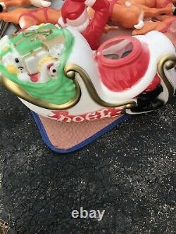 Vintage Empire Santa Claus Sleigh Blowmold 8 Reindeer RARE HTF BRAND NEW