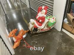 Vintage Empire Santa Claus Sleigh Blowmold Reindeer Sled 1970s