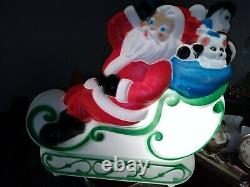 Vintage Empire Santa Claus Sleigh Blowmold Reindeer Sled 1977 WITH BOX and Ins
