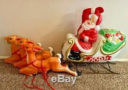 Vintage Empire Santa Sleigh & 3 Reindeer Large Outdoor Blow Mold LOCAL PICK UP
