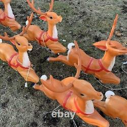 Vintage Empire Santa Sleigh & 9 Reindeer Plus Rudolph Blow Mold Complete Set