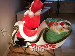 Vintage Empire Santa Sleigh & Reindeer Blow Mold 6 With Reigns & Rare Box