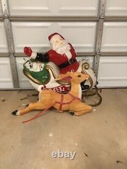 Vintage Empire Santa Sleigh and 9 Empire Reindeer Blow Mold