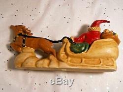 Vintage Enesco signed LEFEVER 10 Santa Sleigh Reindeer Figurine Figure Heavy