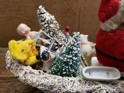 Vintage FAO Schwartz Santa with Reindeer and Wicker Sleigh with Toys