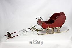 Vintage Folk Art Santa and Reindeer Sleigh / Sled ca1930