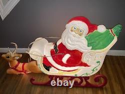 Vintage GRAND VENTURE Blow Mold Christmas Lighted Outdoor Santa Sleigh Reindeer