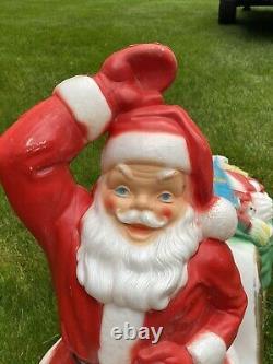 Vintage General Foam Light Up Santa Sleigh Blow Mold with Reindeer