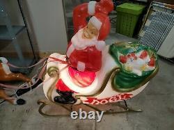 Vintage General Foam Santa Sleigh & 2 Reindeer Blow Mold Reins Outdoor Decor