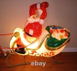 Vintage General Foam Santa Sleigh & Reindeer Blow Mold Reigns Outdoor Yard Decor