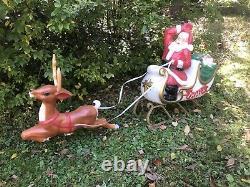 Vintage General Foam Santa Sleigh & Reindeer Blow Mold With Reigns Outdoor Yard