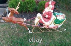Vintage General Foam Santa Sleigh & Reindeer Blow Mold complete no cracks