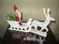 Vintage German Belsnickle Santa In Reindeer Drawn Mica Sled Period Decorations