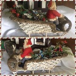 Vintage German Clockwork Nodder Reindeer With Santa And Sleigh