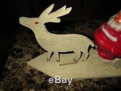 Vintage German Paper Mache Santa In Reindeer Drawn Sled Period Decorations