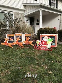 Vintage Grand Venture Blow Mold Santa w Sleigh, 3 Reindeer All in Original Boxes