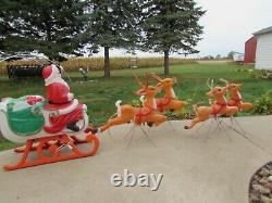 Vintage Grand Venture, Empire, santa withsleigh, 4 reindeer Christmas blowmold
