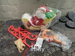 Vintage Grand Venture Santa Blowmold Sleigh + 1 Reindeer RARE