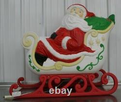Vintage Grand Venture Santa Claus Sleigh 2 Reindeer Christmas Blow Mold Light