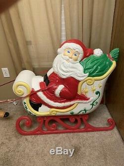 Vintage Grand Venture Santa Sleigh Reindeer Blow Mold Christmas + 2 Reindeer