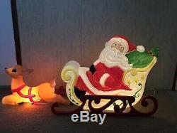 Vintage Grand Venture Santa Sleigh & Reindeer Blow Mold Plastic Yard Decoration