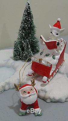 Vintage HTF Rare Holt Howard Santa SLEIGH SLED REINDEER deer