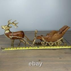 Vintage Heavy Brass And Carved Wood Santa Sleigh And Reindeer Christmas 24
