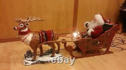 Vintage Holiday Creations Animated Reindeer, And Santa Claus In Sleigh