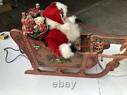 Vintage Holiday Creations Animated Reindeer And Santa On Sleigh