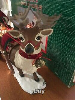 Vintage Holiday Creations Animated Reindeer And Santa On Sleigh In Box Works