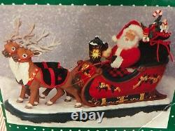 Vintage Holiday Creations Animated Reindeer & Santa On Sleigh LARGE VERSION