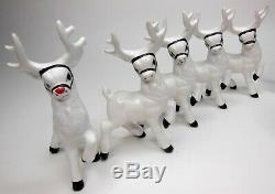 Vintage Holland Mold Ceramic Santa Sleigh and 9 Reindeer Christmas Rudolph