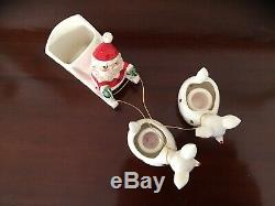 Vintage Holt Howard Santa And Sleigh With Two Reindeer Candle Holders