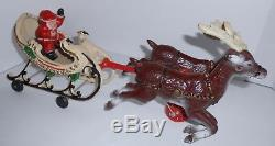 Vintage Hubley Cast Iron Christmas Santa's Sleigh & 2 Reindeer Missing Reins
