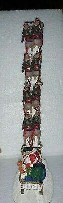 Vintage Jaimy Christmas Figurine Santa Sleigh Sled 8 Flying Reindeer Statue