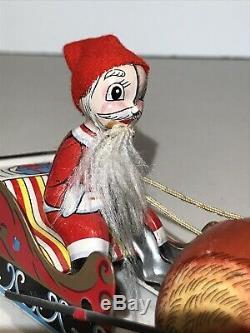 Vintage Jumping Reindeer Pulling Santa Sleigh Tin Litho Wind Up Toy Mikuni Japan
