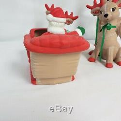 Vintage Kimple Ceramic Reindeer Santa Sleigh Set Christmas Decor 5 piece 1980's